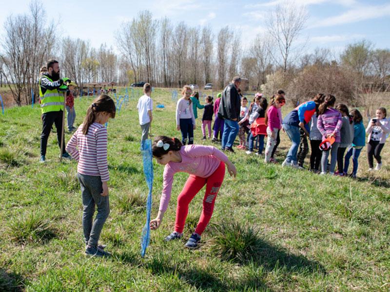 "Students of ""Vuk Karadžić"" Elementary School plant the White Poplar along the banks of the Jegrička"